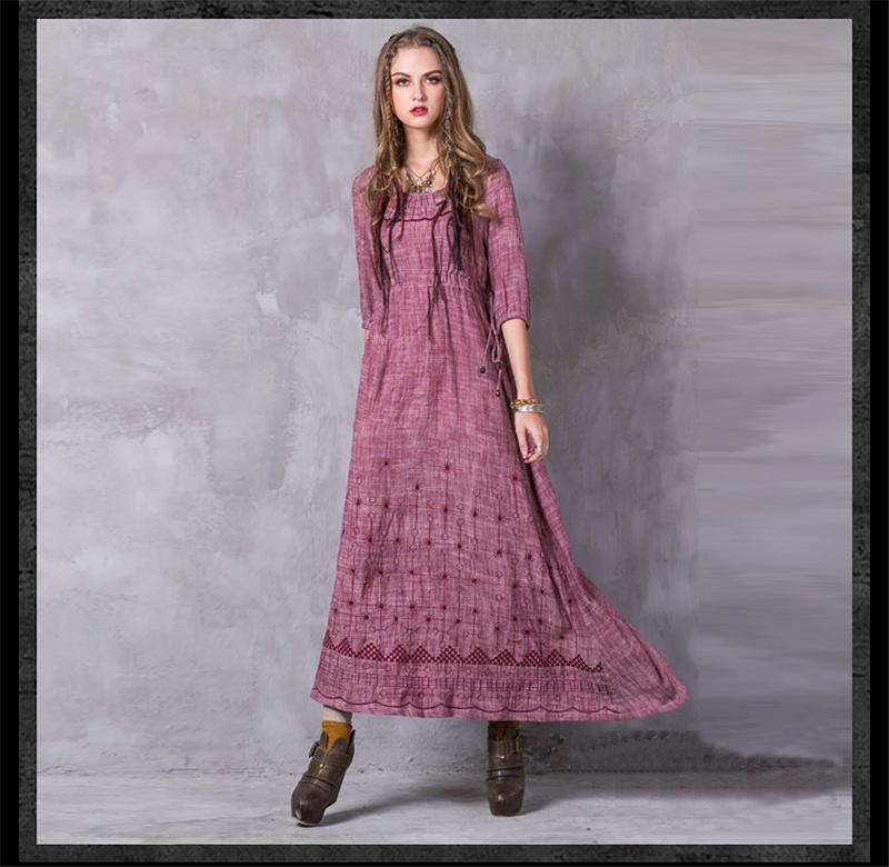 Cotton Linen Bohemian Vintage Lantern Sleeve Lace up Maxi  Dress