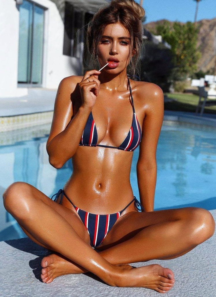 Striped strappy sexy split swimsuit bikini