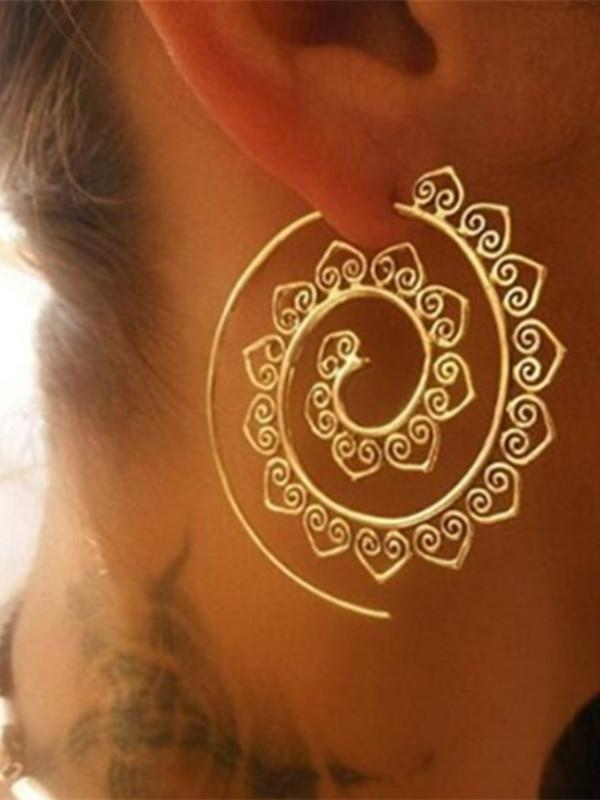 Round eardrop Earrings Gold Color Heart Leaves Women Jewelry