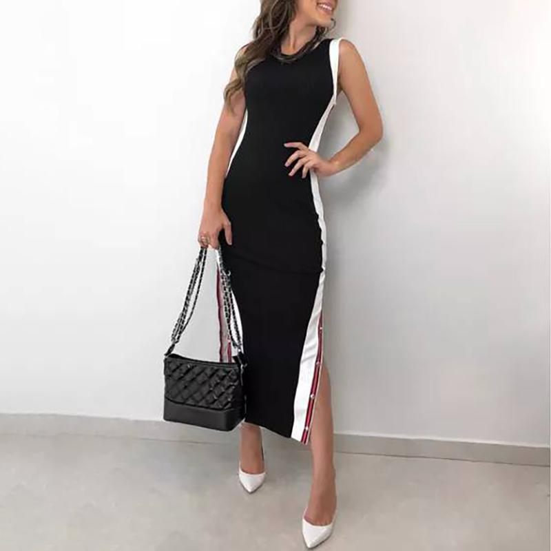 Contrast Color Button Split Side Bodycon Dress