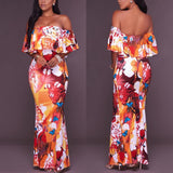 Sexy Off Shoulder Ruffles Strapless Floral Long Dress