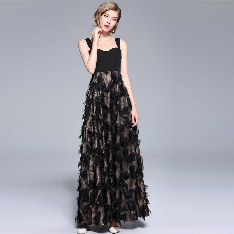 Party Luxury Patchwork Bronzing Tassel Feather Vintage Maxi Dress