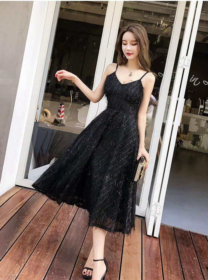 White Black Feather Lace Tassel Glitter Sequin Sparkle Long Dress