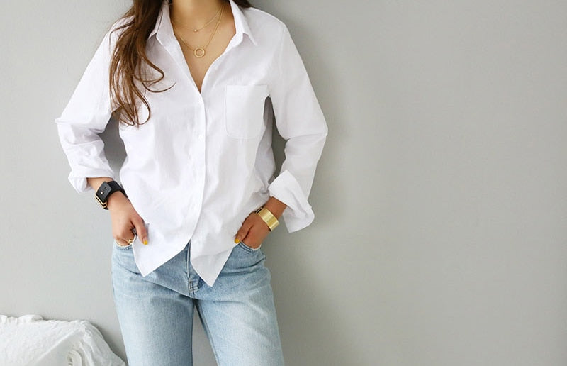 One Pocket White OL Style Women Loose Blouses