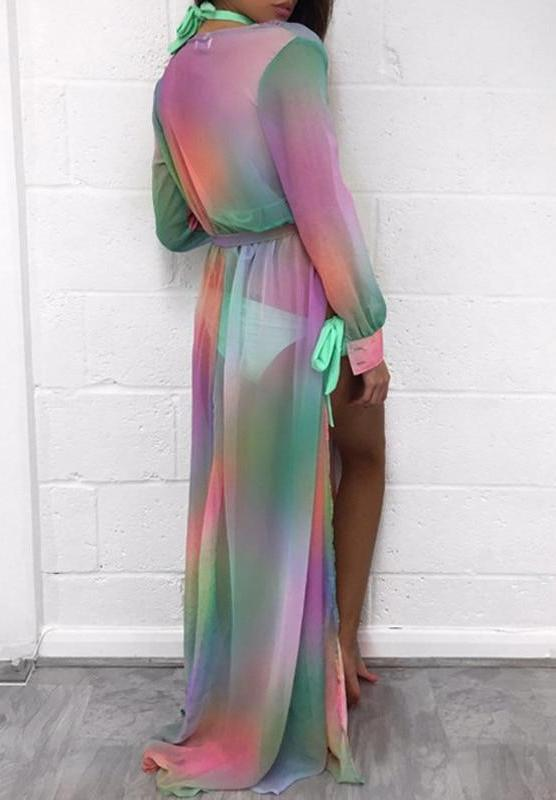 Bohemian Maxi Dress Long Chiffon Beachwear Coat Dresses