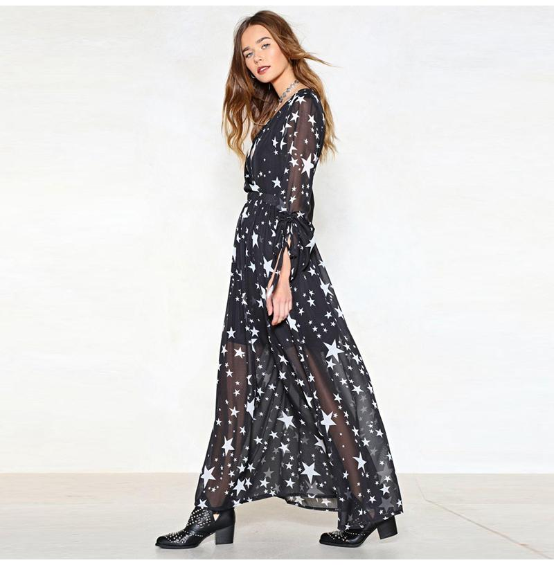 White Star printed black gathered long sleeve maxi Dress