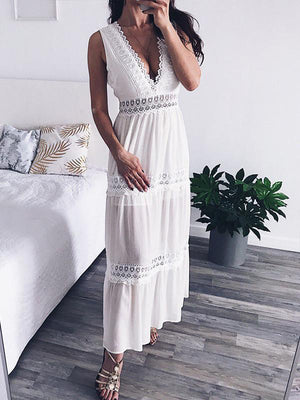 V Neck White Lace Sexy Backless Elegant Hollow Out Maxi Party Dress
