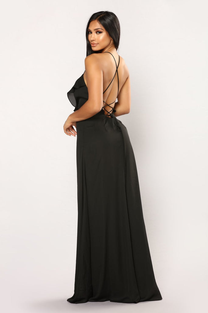 Sexy Deep V Neck High Split Party Ruffled Backless Maxi Dress