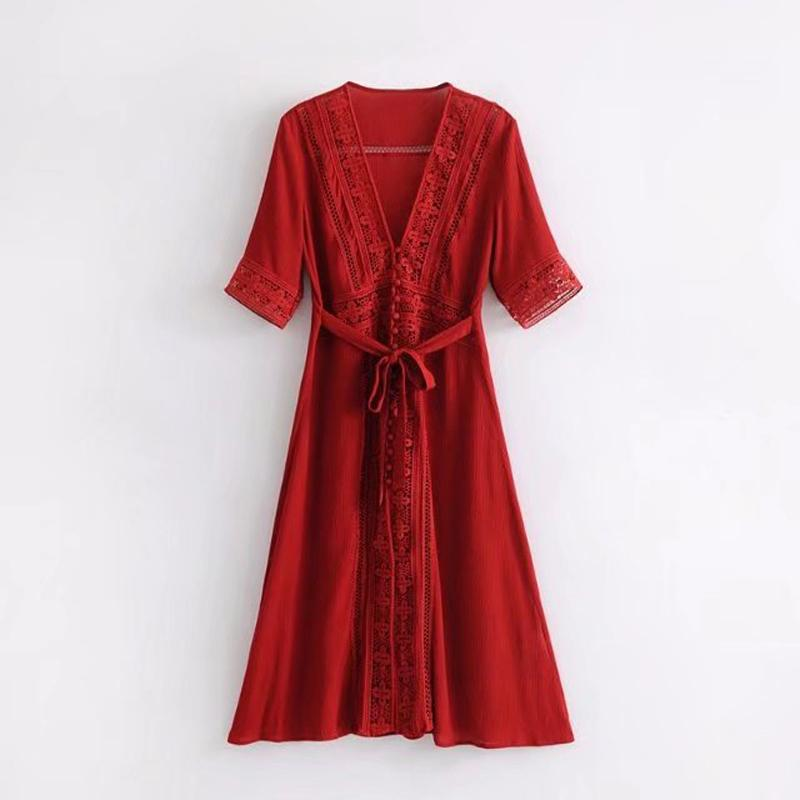 Boho long Vintage Floral Lace Stitching Sexy V-neck Dress