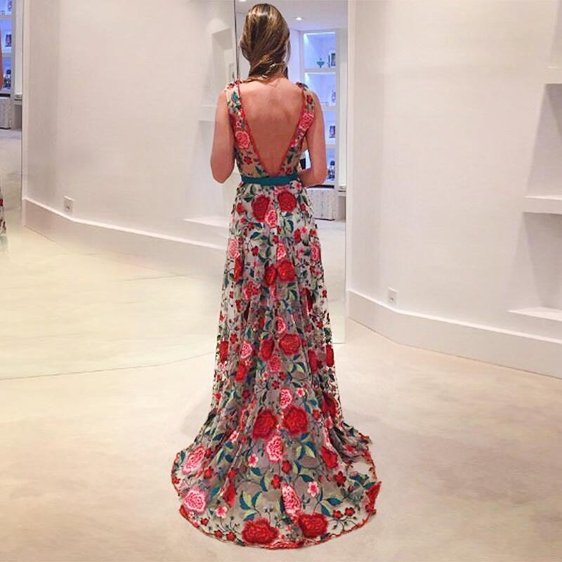 Sexy Fashion Women Formal Long Party Prom Ball Gown Wedding Floral Long Dress