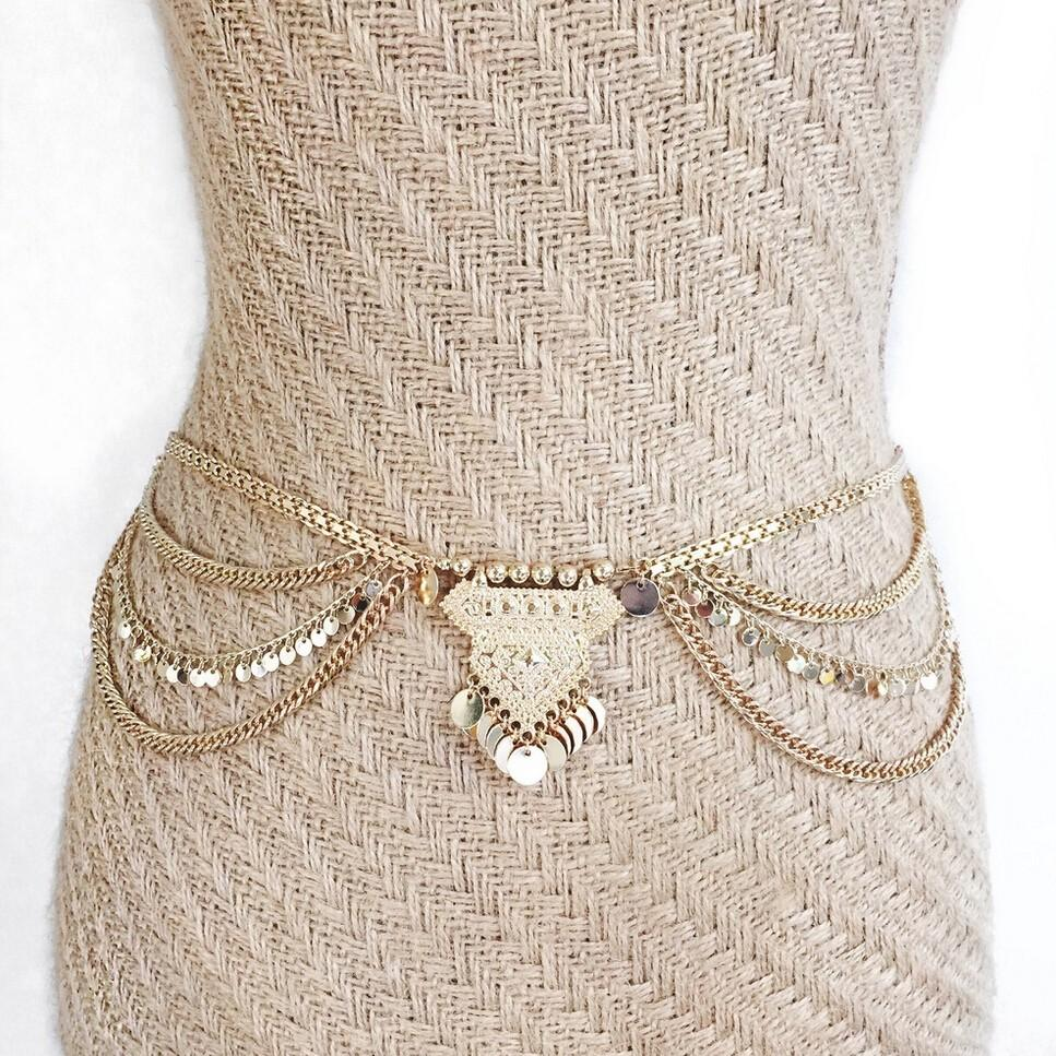 Sexy Beach Belly boho chain belt Metal Dangle Sequins Body Jewelry
