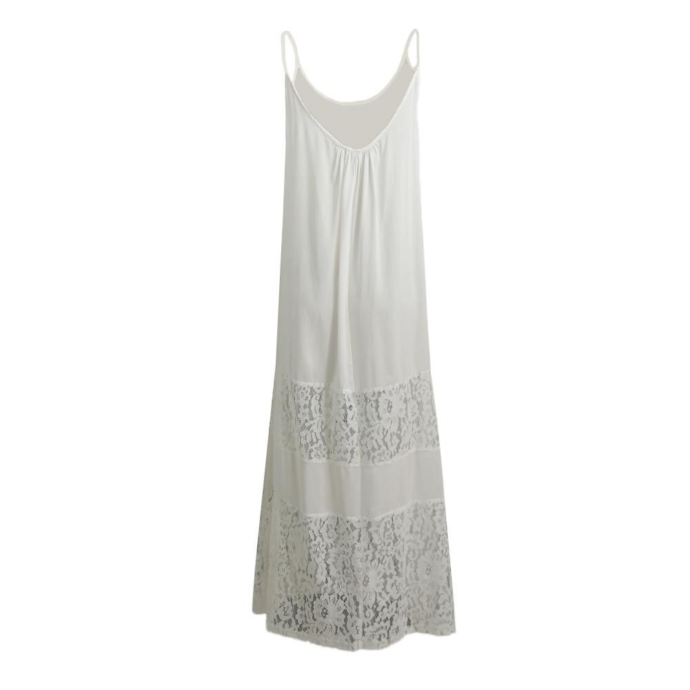 Solid Lace Splice Spaghetti Strap Loose Boho Beach Floor-length Dress
