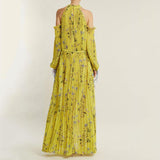 Sexy Women  Floral Printed Cold Shoulder Club Dress