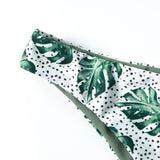 Sexy Green Tropical Leaf Low Waist Bikini Set
