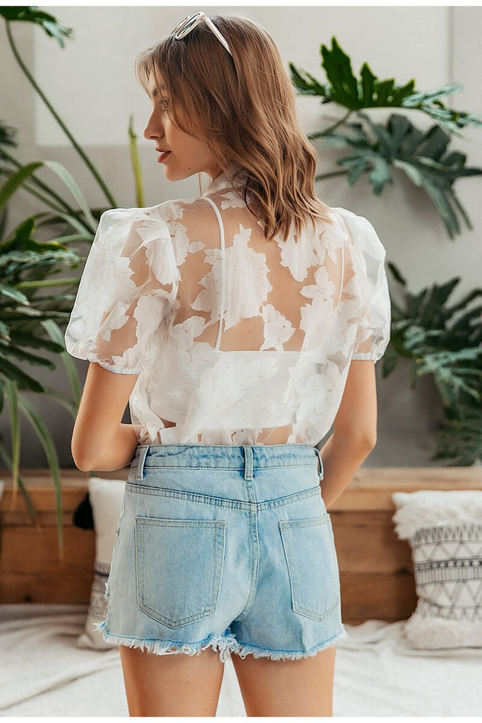 Flower Lace Super Thin Transparent Sexy Blouse Tops