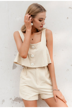 Casual two-piece women playsuits Sleeveless straps buttons female cotton rompers jumpsuit