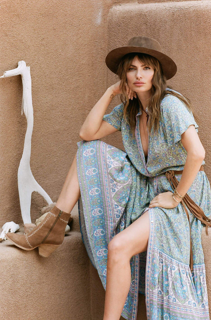 Bohemian Floral Printed Short Sleeve Maxi Dresses