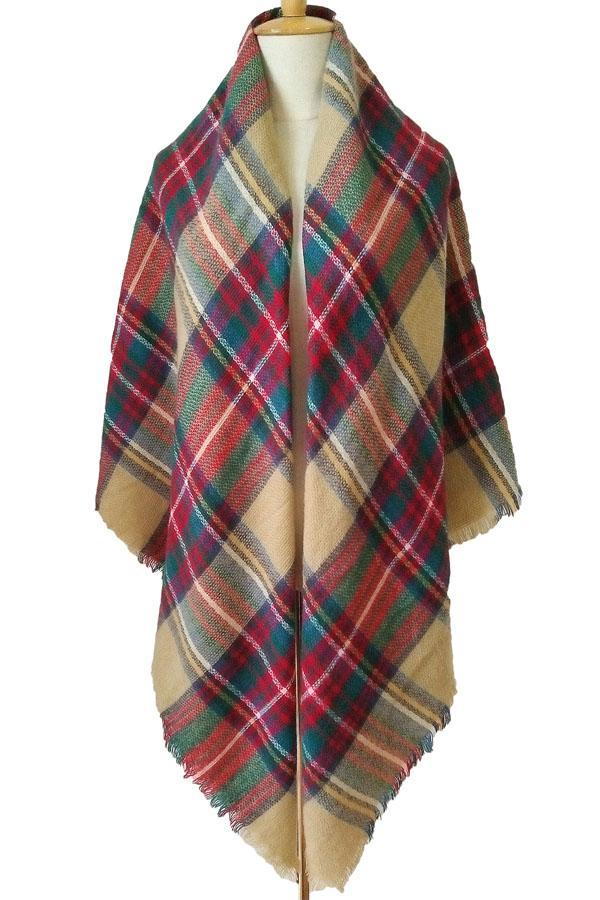 Women Winter Colorful Plaid Unisex Shawl Scarves