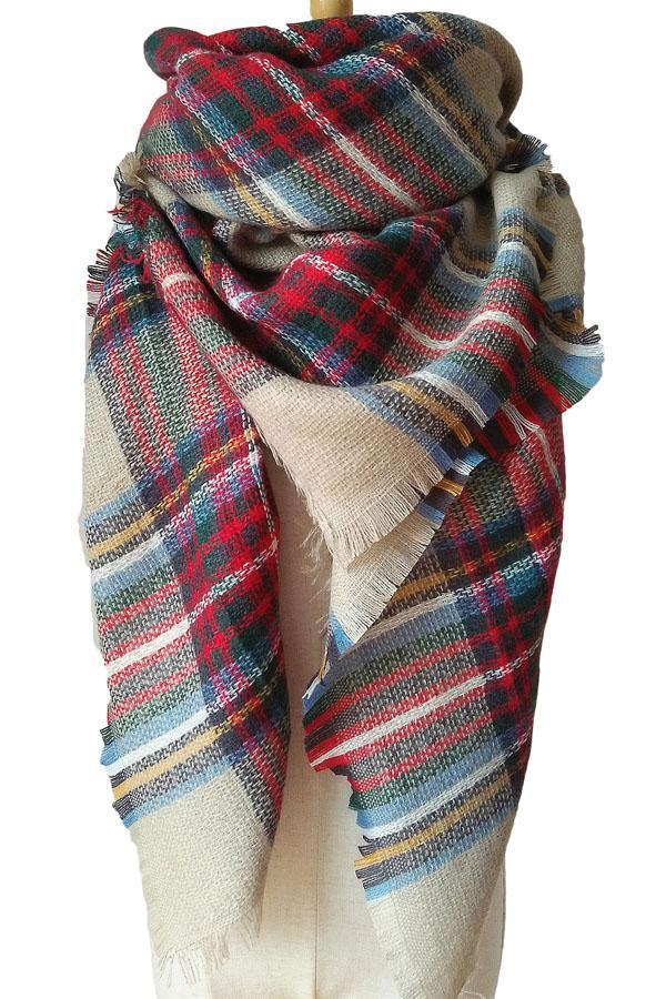 Women Plaid Red Green&Coffee Unisex Winter Shawl Scarves