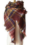 Women Plaid Winter Brown&Yellow Unisex Shawl Scarves