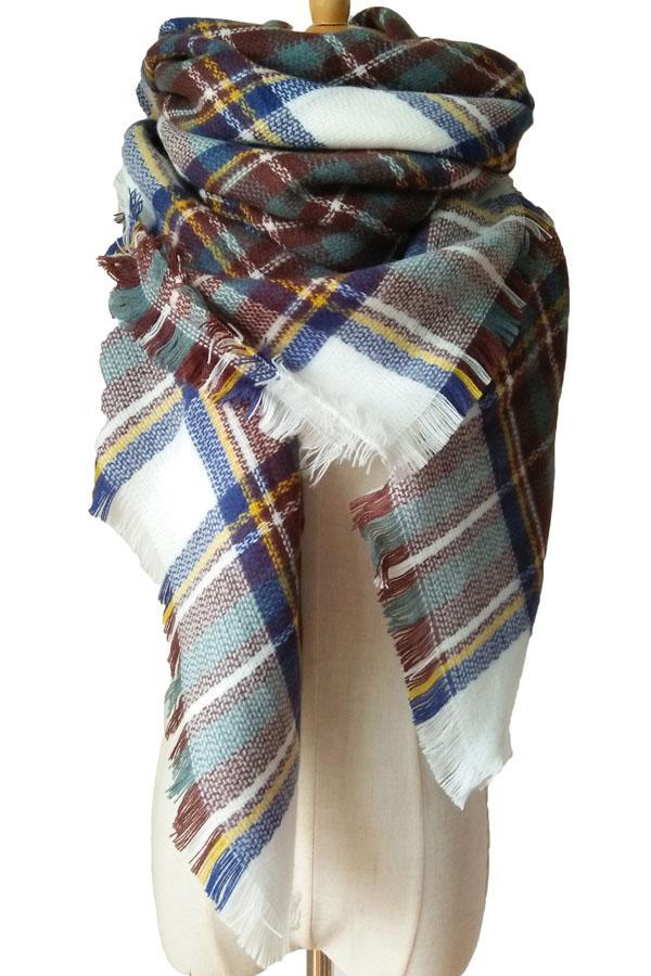 Women Winter Blue&Brown Plaid Unisex Shawl Scarves