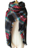 Women Red Green&Black Plaid Winter Unisex Shawl Scarves