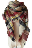 Women Plaid Coffee Black Red&yellow Winter Shawl Scarves