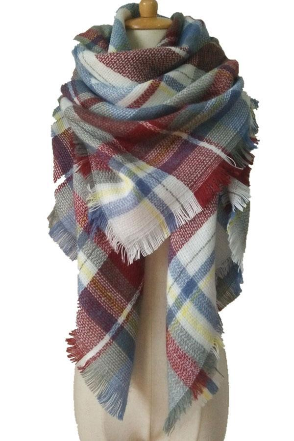 Women Blue White&Red Plaid Winter Shawl Scarves