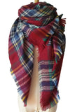Women Elegant Plaid Winter Red Shawl Scarves