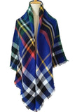 Women Plaid Winter Elegant Shawl Blue Scarves