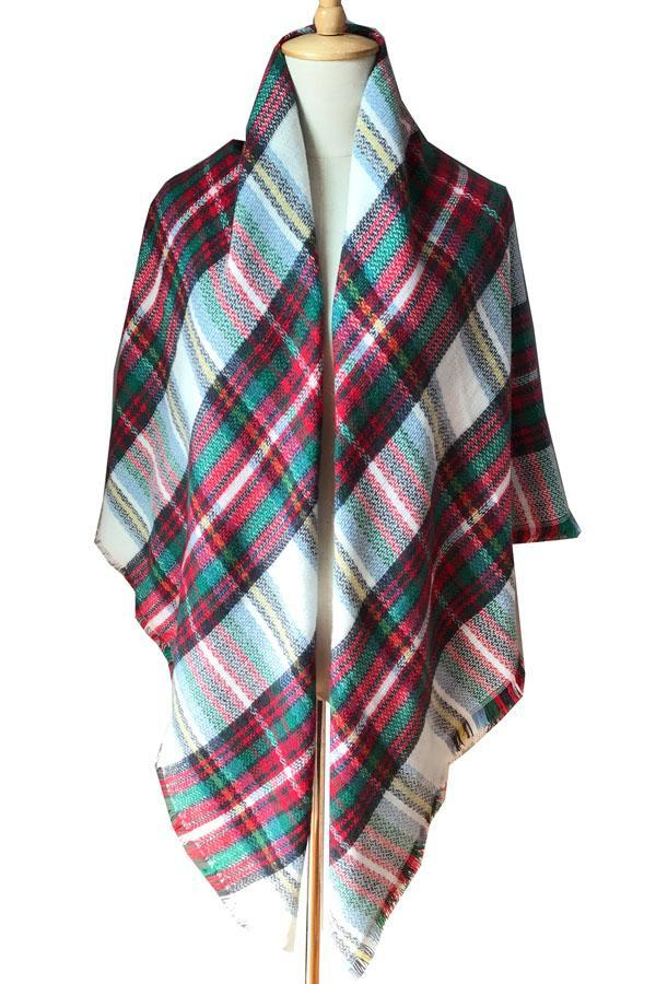 Women Green&Red Plaid Blanket Winter Wool Shawl Scarves