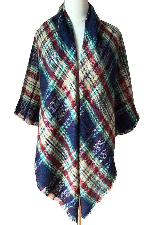 Winter cashmere Plaid Unisex Shawls Women Scarves