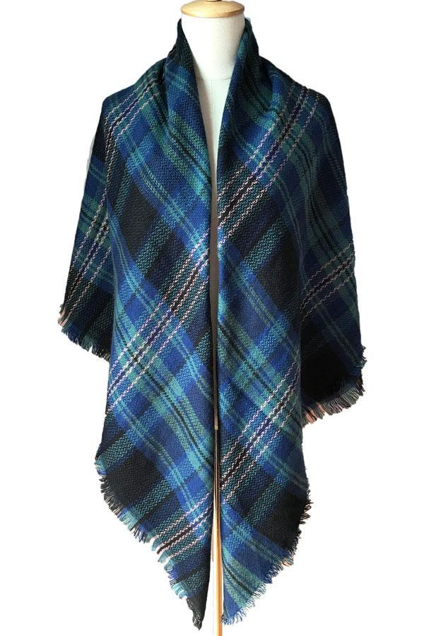 Women Plaid Blue Blanket Winter Wool Shawl Scarves