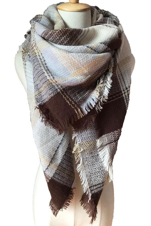 Women Plaid Warm Winter Blanket Shawls Soft Cashmere Scarves