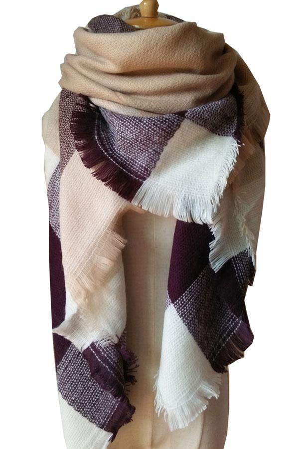 Women Purple White Plaid Blanket Winter Unisex Shawl Scarves