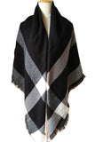 Women Plaid Black Grey &White Blanket Winter Shawl Scarves