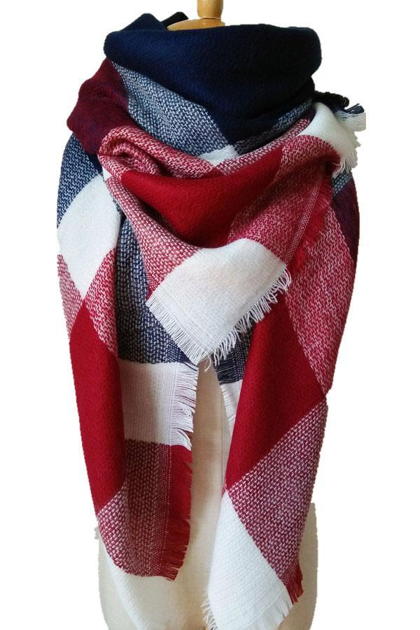 Women Plaid Blue Red &White Blanket Winter Shawl Scarves