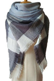 Women Plaid Light Blue White Blanket Winter Unisex Shawl Scarves