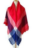 Women Red Blue &White Plaid Blanket Winter Unisex Shawl Scarves