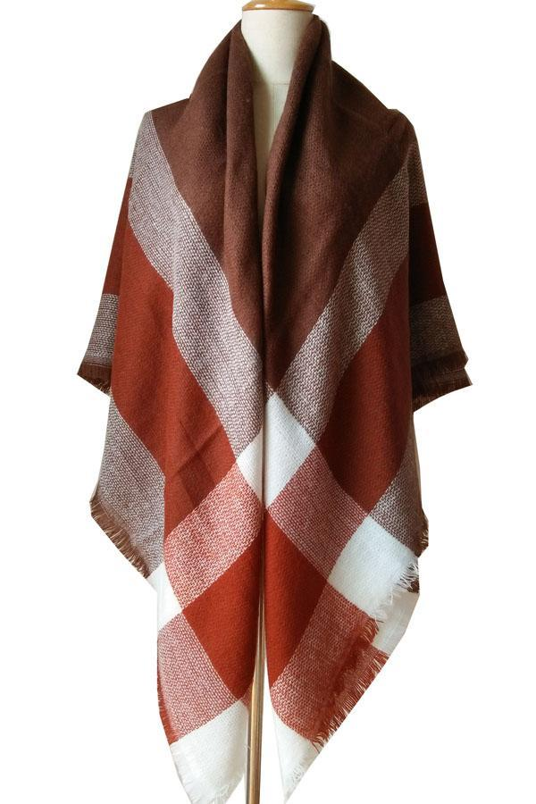 Women Plaid Coffee & Red Blanket Winter Unisex Shawl Scarves