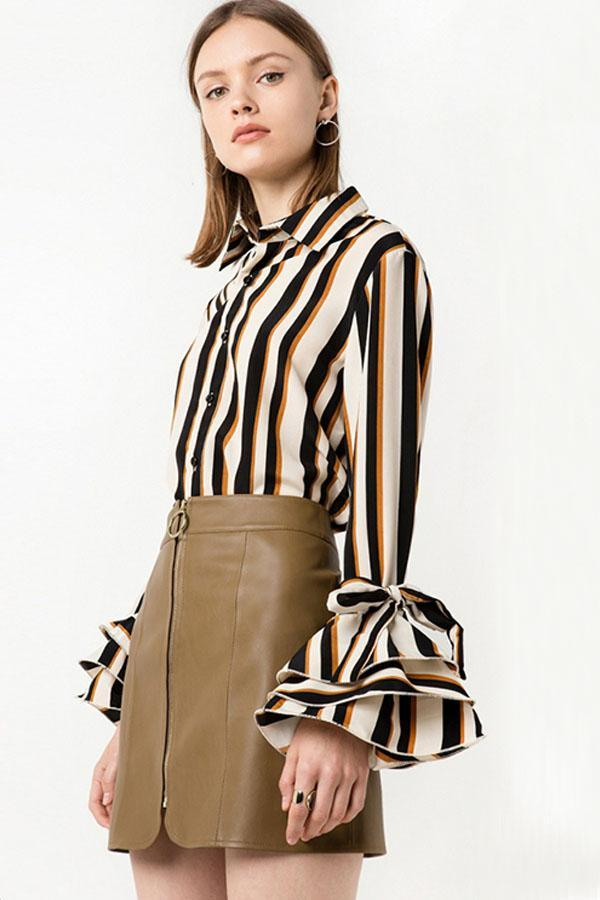 Women Sleeves with Striped Long-sleeved Shirt Tops