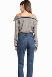 Women Off Shoulder Plaid Strap Blouse Button Plus Size Tops