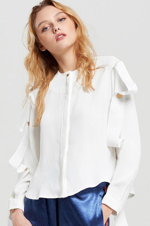 Women White Ruffle Button Shirts Lace Up Blouse Casual Tops
