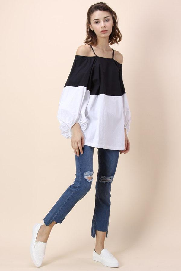 Women Long Sleeve Patchwork Off Shoulder Loose Blouse Tops