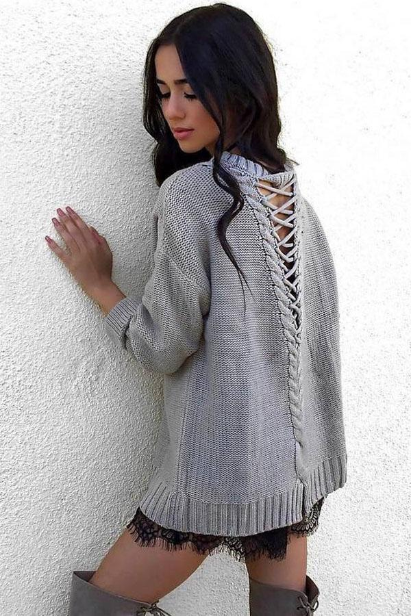Women Pullovers Back Hollow Long Sleeve O-neck Knitted Sweater