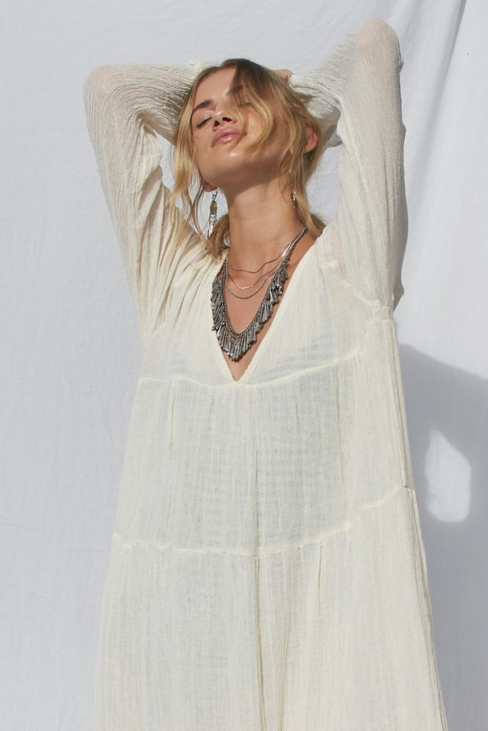 V Neck Bohemian Beach Loose Maxi Dress