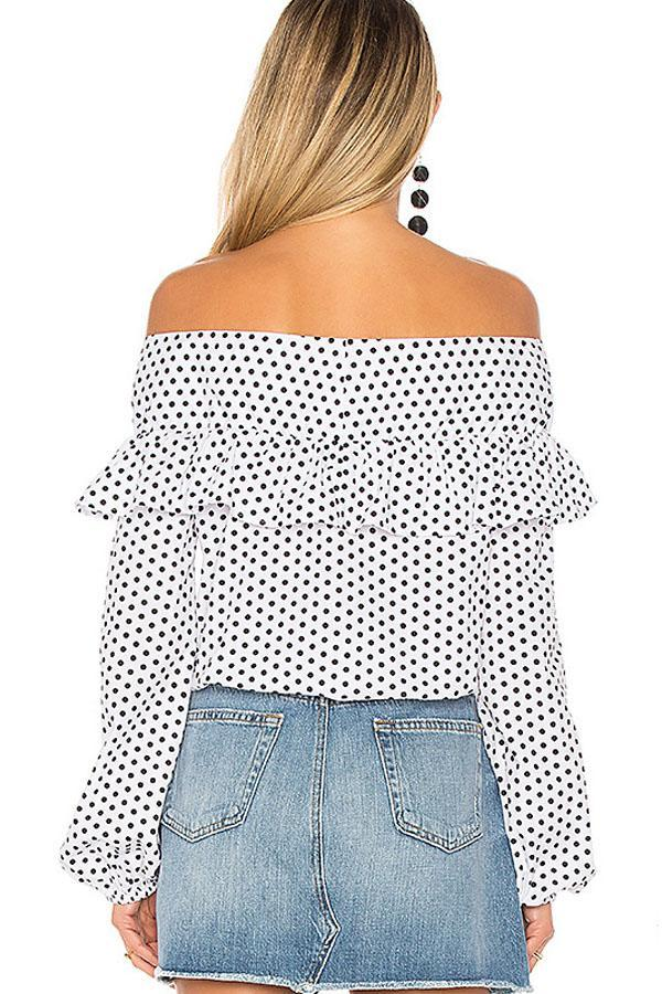 Women Long Sleeve Off Shoulder Bow bandage Casual Dot Tops