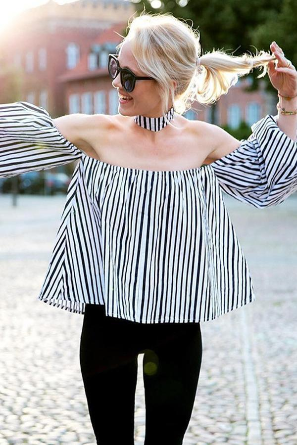 Women Striped Long Sleeve Blouses Sexy Off Shoulder Tops