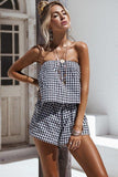 Women Off shoulder Plaid Cotton Sexy Plus size Backless Romper