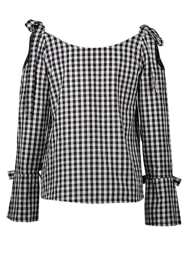 Women plaid lace-up Off Shoulder casual Long Sleeve Blouse Tops